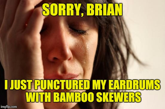 First World Problems Meme | SORRY, BRIAN I JUST PUNCTURED MY EARDRUMS WITH BAMBOO SKEWERS | image tagged in memes,first world problems | made w/ Imgflip meme maker