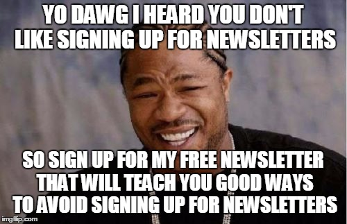 Yo Dawg Heard You Meme | YO DAWG I HEARD YOU DON'T LIKE SIGNING UP FOR NEWSLETTERS SO SIGN UP FOR MY FREE NEWSLETTER THAT WILL TEACH YOU GOOD WAYS TO AVOID SIGNING U | image tagged in memes,yo dawg heard you | made w/ Imgflip meme maker