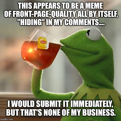 "But Thats None Of My Business Meme | THIS APPEARS TO BE A MEME OF FRONT-PAGE-QUALITY ALL BY ITSELF, ""HIDING"" IN MY COMMENTS.... I WOULD SUBMIT IT IMMEDIATELY, BUT THAT'S NONE OF 