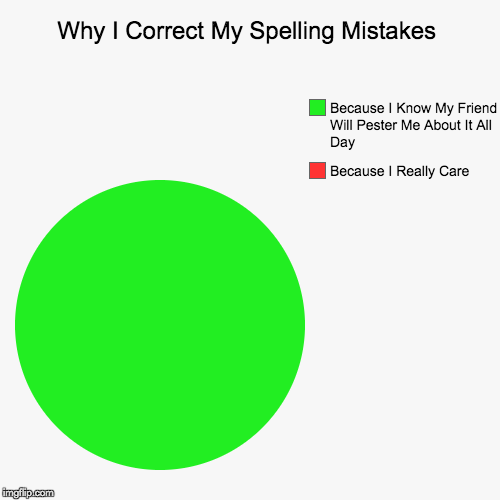 Why I Correct My Spelling Mistakes | Because I Really Care, Because I Know My Friend Will Pester Me About It All Day | image tagged in funny,pie charts | made w/ Imgflip chart maker