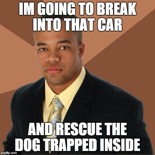 Succesful Black Man | IM GOING TO BREAK INTO THAT CAR AND RESCUE THE DOG TRAPPED INSIDE | image tagged in succesful black man | made w/ Imgflip meme maker