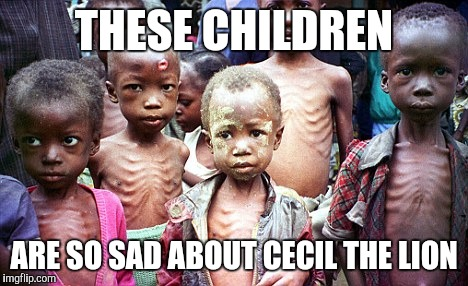 Starving African children cry for Cecil the lion | THESE CHILDREN ARE SO SAD ABOUT CECIL THE LION | image tagged in cecil the lion,first world problems | made w/ Imgflip meme maker