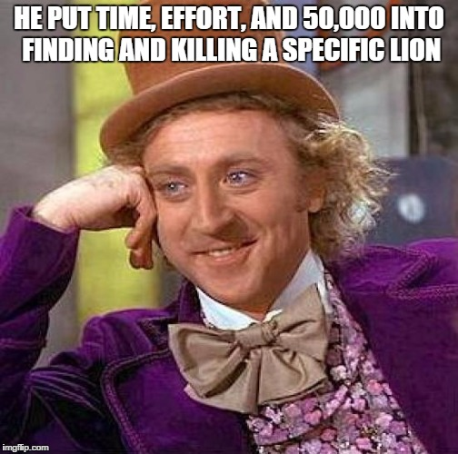 Creepy Condescending Wonka Meme | HE PUT TIME, EFFORT, AND 50,000 INTO FINDING AND KILLING A SPECIFIC LION | image tagged in memes,creepy condescending wonka | made w/ Imgflip meme maker