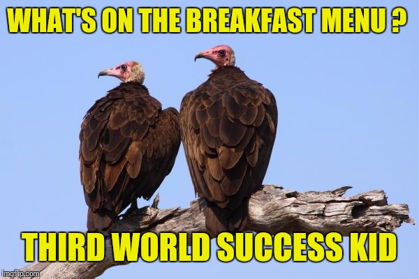 WHAT'S ON THE BREAKFAST MENU ? THIRD WORLD SUCCESS KID | made w/ Imgflip meme maker