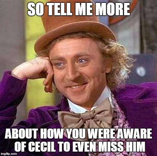 Creepy Condescending Wonka Meme | SO TELL ME MORE ABOUT HOW YOU WERE AWARE OF CECIL TO EVEN MISS HIM | image tagged in memes,creepy condescending wonka | made w/ Imgflip meme maker
