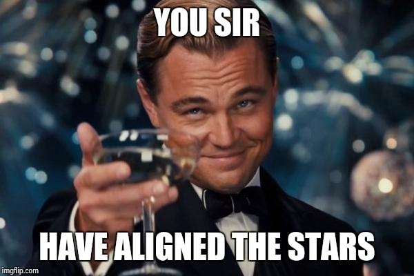 Leonardo Dicaprio Cheers Meme | YOU SIR HAVE ALIGNED THE STARS | image tagged in memes,leonardo dicaprio cheers | made w/ Imgflip meme maker