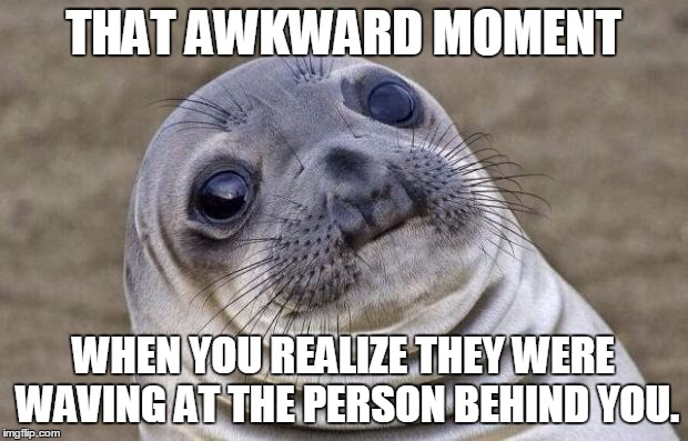Awkward Moment Sealion Meme | THAT AWKWARD MOMENT WHEN YOU REALIZE THEY WERE WAVING AT THE PERSON BEHIND YOU. | image tagged in memes,awkward moment sealion | made w/ Imgflip meme maker