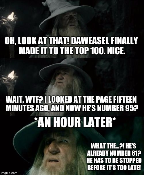 Confused Gandalf Meme | OH, LOOK AT THAT! DAWEASEL FINALLY MADE IT TO THE TOP 100. NICE. WAIT, WTF? I LOOKED AT THE PAGE FIFTEEN MINUTES AGO, AND NOW HE'S NUMBER 95 | image tagged in memes,confused gandalf | made w/ Imgflip meme maker