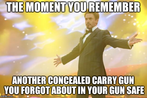 Tony Stark success | THE MOMENT YOU REMEMBER ANOTHER CONCEALED CARRY GUN YOU FORGOT ABOUT IN YOUR GUN SAFE | image tagged in tony stark success | made w/ Imgflip meme maker