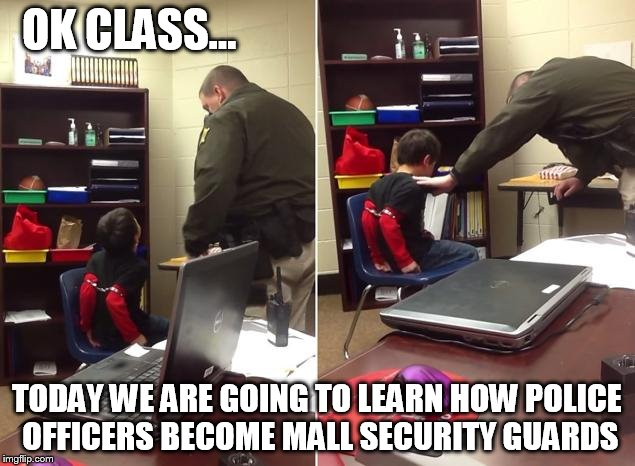 Image tagged in handcuffed cop adhd boy imgflip - How to become security officer ...