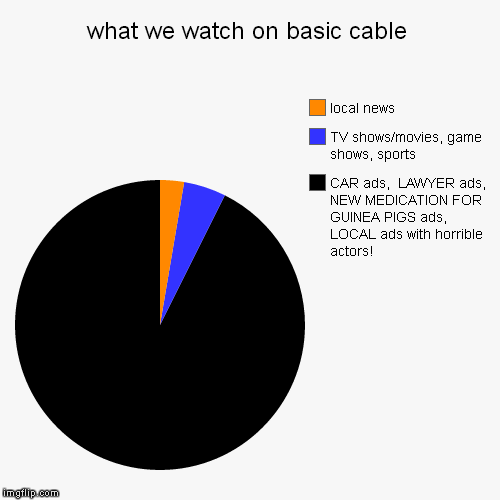what we watch on basic cable | CAR ads,  LAWYER ads,  NEW MEDICATION FOR GUINEA PIGS ads,  LOCAL ads with horrible actors!, TV shows/movies, | image tagged in funny,pie charts | made w/ Imgflip pie chart maker