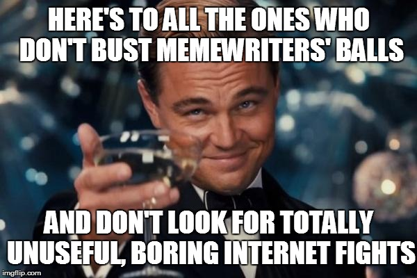 Leonardo Dicaprio Cheers Meme | HERE'S TO ALL THE ONES WHO DON'T BUST MEMEWRITERS' BALLS AND DON'T LOOK FOR TOTALLY UNUSEFUL, BORING INTERNET FIGHTS | image tagged in memes,leonardo dicaprio cheers | made w/ Imgflip meme maker