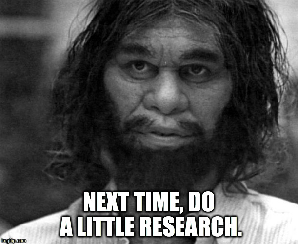 Geico Caveman | NEXT TIME, DO A LITTLE RESEARCH. | image tagged in geico caveman | made w/ Imgflip meme maker