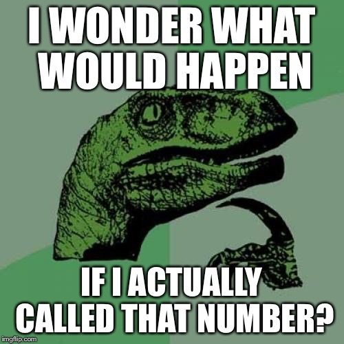 Philosoraptor Meme | I WONDER WHAT WOULD HAPPEN IF I ACTUALLY CALLED THAT NUMBER? | image tagged in memes,philosoraptor | made w/ Imgflip meme maker