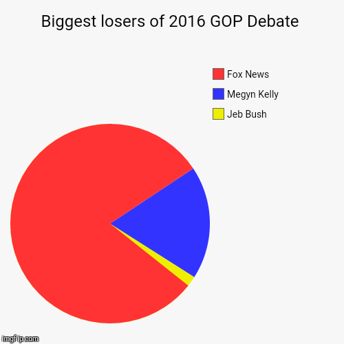 Biggest losers of 2016 GOP Debate | Jeb Bush, Megyn Kelly, Fox News | image tagged in funny,pie charts | made w/ Imgflip chart maker