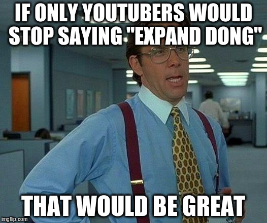 "That Would Be Great Meme | IF ONLY YOUTUBERS WOULD STOP SAYING ""EXPAND DONG"" THAT WOULD BE GREAT 