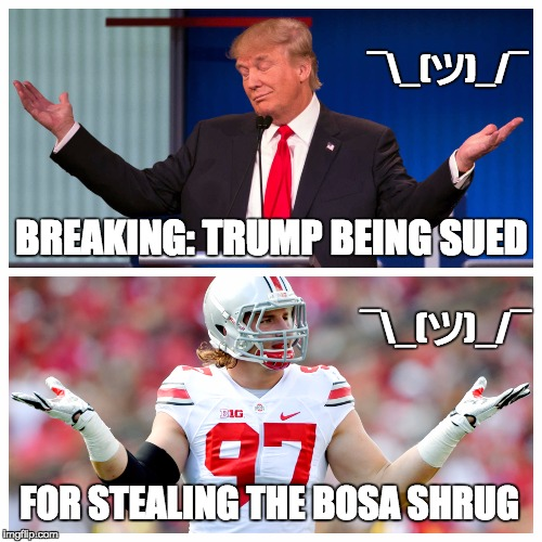 Donald Trump Shrug | BREAKING: TRUMP BEING SUED FOR STEALING THE BOSA SHRUG ¯_(ツ)_/¯ ¯_(ツ)_/¯ | image tagged in donald trump,ohio state,politics,college football,republicans | made w/ Imgflip meme maker