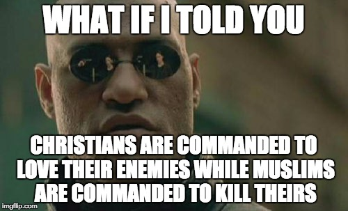 Matrix Morpheus Meme | WHAT IF I TOLD YOU CHRISTIANS ARE COMMANDED TO LOVE THEIR ENEMIES WHILE MUSLIMS ARE COMMANDED TO KILL THEIRS | image tagged in memes,matrix morpheus | made w/ Imgflip meme maker
