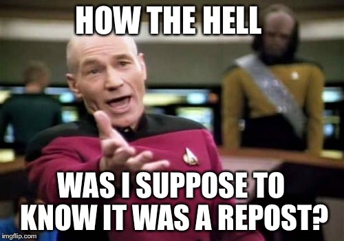 Picard Wtf Meme | HOW THE HELL WAS I SUPPOSE TO KNOW IT WAS A REPOST? | image tagged in memes,picard wtf,wtf,reposts,sorry i annoyed you,funny | made w/ Imgflip meme maker
