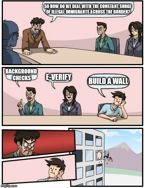 Boardroom Meeting Suggestion Meme | SO HOW DO WE DEAL WITH THE CONSTANT SURGE OF ILLEGAL IMMIGRANTS ACROSS THE BORDER? BACKGROUND CHECKS E-VERIFY BUILD A WALL | image tagged in memes,boardroom meeting suggestion | made w/ Imgflip meme maker