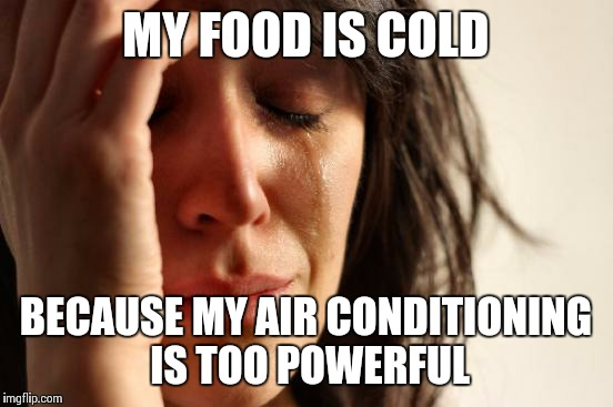 First World Problems Meme | MY FOOD IS COLD BECAUSE MY AIR CONDITIONING IS TOO POWERFUL | image tagged in memes,first world problems | made w/ Imgflip meme maker
