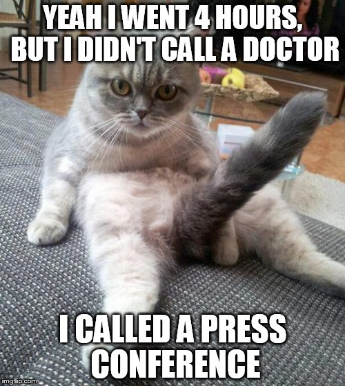 Sexy Cat | YEAH I WENT 4 HOURS, BUT I DIDN'T CALL A DOCTOR I CALLED A PRESS CONFERENCE | image tagged in memes,sexy cat | made w/ Imgflip meme maker