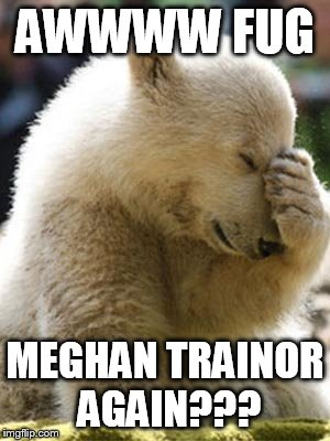 Facepalm Bear | AWWWW FUG MEGHAN TRAINOR AGAIN??? | image tagged in memes,facepalm bear | made w/ Imgflip meme maker