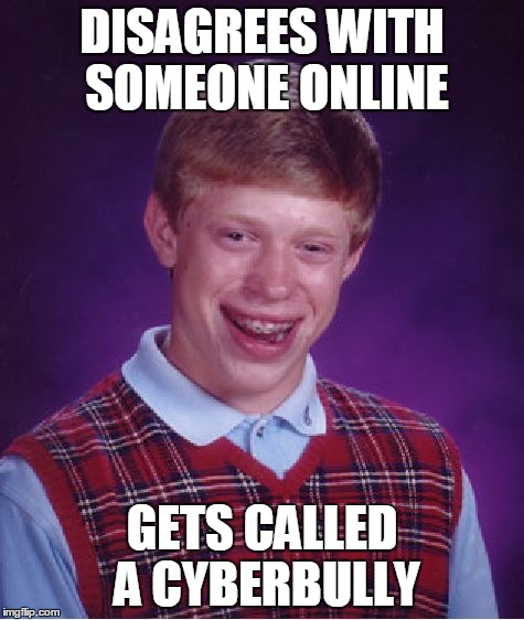 Bad Luck Brian Meme | DISAGREES WITH SOMEONE ONLINE GETS CALLED A CYBERBULLY | image tagged in memes,bad luck brian | made w/ Imgflip meme maker