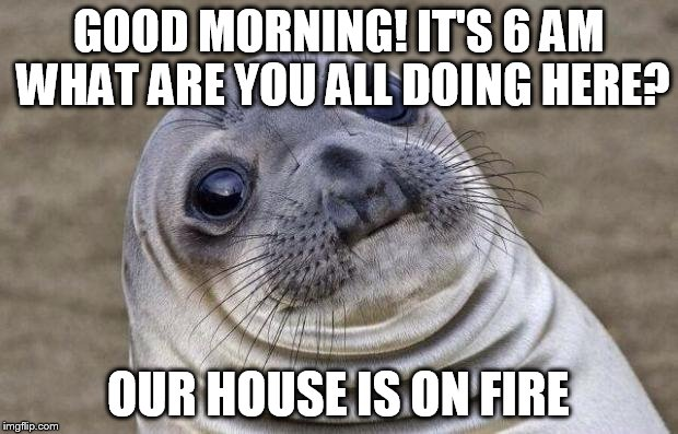 Awkward Moment Sealion Meme | GOOD MORNING! IT'S 6 AM WHAT ARE YOU ALL DOING HERE? OUR HOUSE IS ON FIRE | image tagged in memes,awkward moment sealion,AdviceAnimals | made w/ Imgflip meme maker