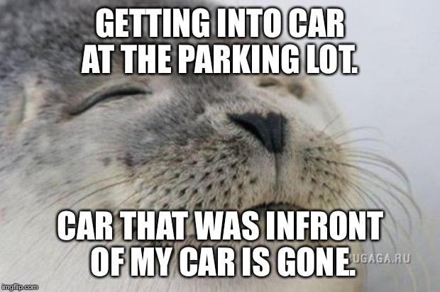 Happy Seal | GETTING INTO CAR AT THE PARKING LOT. CAR THAT WAS INFRONT OF MY CAR IS GONE. | image tagged in happy seal,AdviceAnimals | made w/ Imgflip meme maker