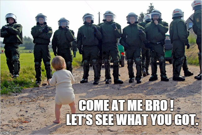 COME AT ME BRO !      LET'S SEE WHAT YOU GOT. | image tagged in police brutality,funny meme | made w/ Imgflip meme maker