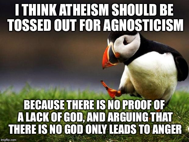 Unpopular Opinion Puffin Meme | I THINK ATHEISM SHOULD BE TOSSED OUT FOR AGNOSTICISM BECAUSE THERE IS NO PROOF OF A LACK OF GOD, AND ARGUING THAT THERE IS NO GOD ONLY LEADS | image tagged in memes,unpopular opinion puffin | made w/ Imgflip meme maker