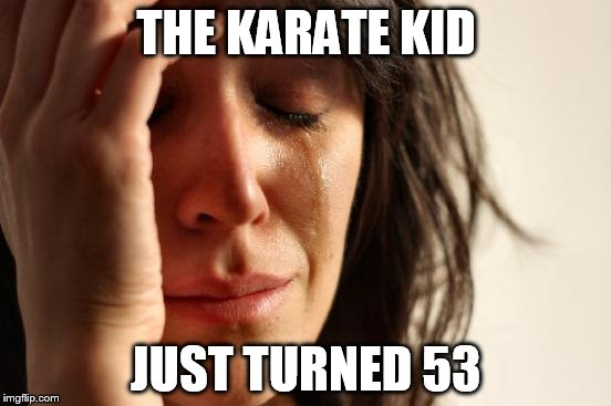 First World Problems Meme | THE KARATE KID JUST TURNED 53 | image tagged in memes,first world problems | made w/ Imgflip meme maker