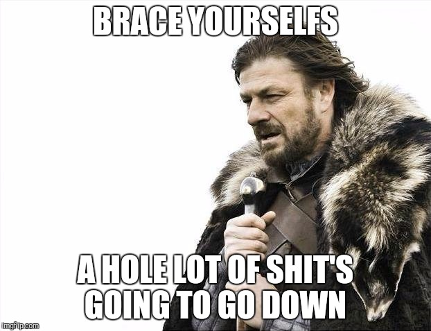 Brace Yourselves X is Coming Meme | BRACE YOURSELFS A HOLE LOT OF SHIT'S GOING TO GO DOWN | image tagged in memes,brace yourselves x is coming | made w/ Imgflip meme maker