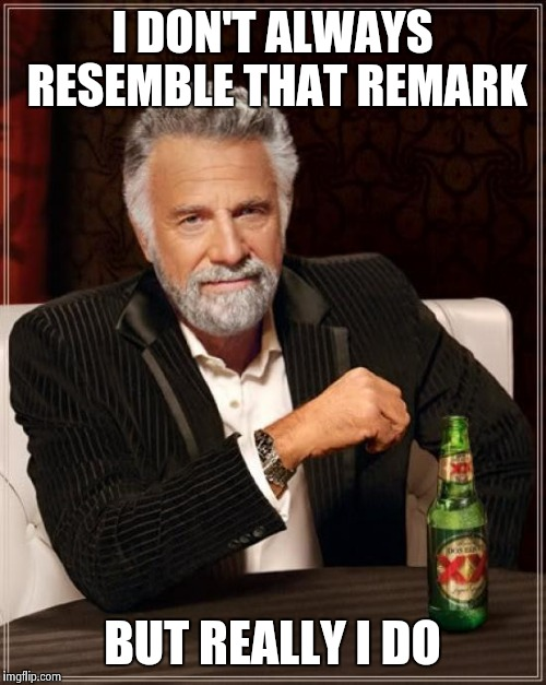 The Most Interesting Man In The World Meme | I DON'T ALWAYS RESEMBLE THAT REMARK BUT REALLY I DO | image tagged in memes,the most interesting man in the world | made w/ Imgflip meme maker