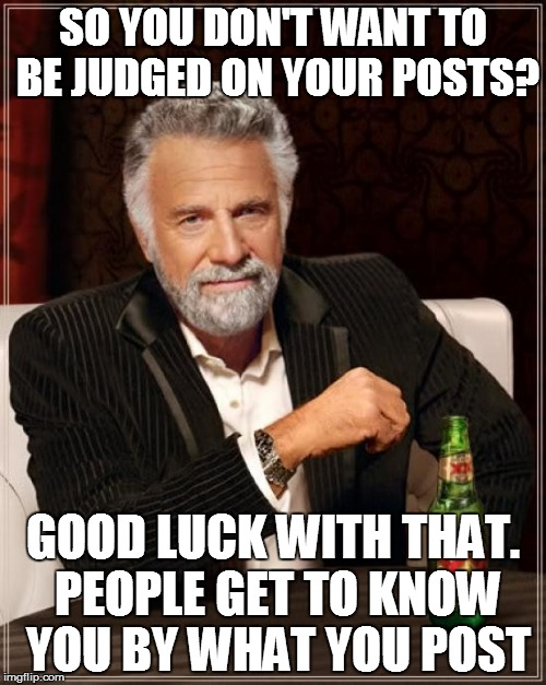 The Most Interesting Man In The World Meme | SO YOU DON'T WANT TO BE JUDGED ON YOUR POSTS? GOOD LUCK WITH THAT. PEOPLE GET TO KNOW YOU BY WHAT YOU POST | image tagged in memes,the most interesting man in the world | made w/ Imgflip meme maker