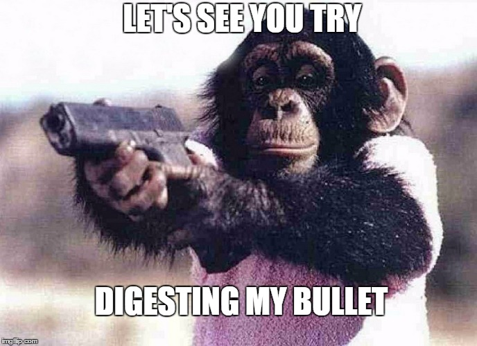 Acid Chimp | LET'S SEE YOU TRY DIGESTING MY BULLET | image tagged in gun,chimpanzee,9mm,thug life,gangsta | made w/ Imgflip meme maker