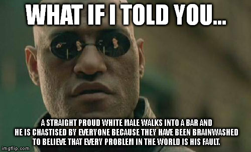 Matrix Morpheus Meme | WHAT IF I TOLD YOU... A STRAIGHT PROUD WHITE MALE WALKS INTO A BAR AND HE IS CHASTISED BY EVERYONE BECAUSE THEY HAVE BEEN BRAINWASHED TO BEL | image tagged in memes,matrix morpheus | made w/ Imgflip meme maker