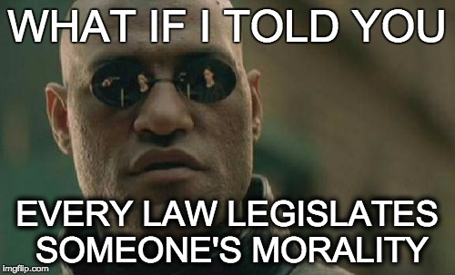 Matrix Morpheus Meme | WHAT IF I TOLD YOU EVERY LAW LEGISLATES SOMEONE'S MORALITY | image tagged in memes,matrix morpheus | made w/ Imgflip meme maker