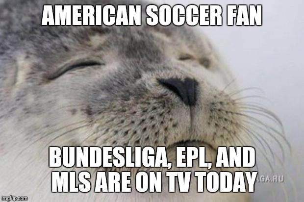 Happy Seal | AMERICAN SOCCER FAN BUNDESLIGA, EPL, AND MLS ARE ON TV TODAY | image tagged in happy seal,AdviceAnimals | made w/ Imgflip meme maker