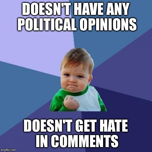Success Kid Meme | DOESN'T HAVE ANY POLITICAL OPINIONS DOESN'T GET HATE IN COMMENTS | image tagged in memes,success kid | made w/ Imgflip meme maker