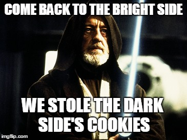 COME BACK TO THE BRIGHT SIDE WE STOLE THE DARK SIDE'S COOKIES | made w/ Imgflip meme maker