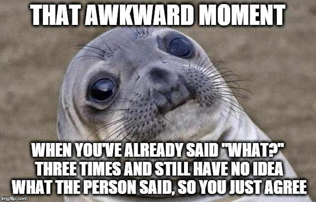 "Awkward Moment Sealion | THAT AWKWARD MOMENT WHEN YOU'VE ALREADY SAID ""WHAT?"" THREE TIMES AND STILL HAVE NO IDEA WHAT THE PERSON SAID, SO YOU JUST AGREE 