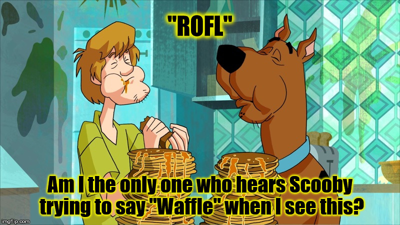 "ROFL | ""ROFL"" Am I the only one who hears Scooby trying to say ""Waffle"" when I see this? 