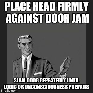 debating unreasonable idiots  | PLACE HEAD FIRMLY AGAINST DOOR JAM SLAM DOOR REPEATEDLY UNTIL LOGIC OR UNCONSCIOUSNESS PREVAILS | image tagged in memes,kill yourself guy | made w/ Imgflip meme maker