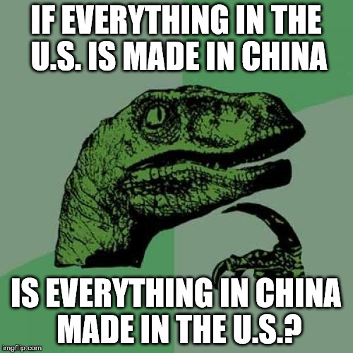 Philosoraptor Meme | IF EVERYTHING IN THE U.S. IS MADE IN CHINA IS EVERYTHING IN CHINA MADE IN THE U.S.? | image tagged in memes,philosoraptor | made w/ Imgflip meme maker