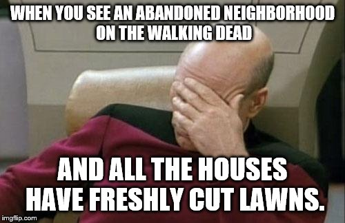 Apparently, Zombies Remember the Days They Were HOA Nazis | WHEN YOU SEE AN ABANDONED NEIGHBORHOOD ON THE WALKING DEAD AND ALL THE HOUSES HAVE FRESHLY CUT LAWNS. | image tagged in memes,captain picard facepalm | made w/ Imgflip meme maker