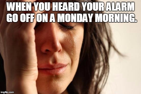 First World Problems | WHEN YOU HEARD YOUR ALARM GO OFF ON A MONDAY MORNING. | image tagged in memes,first world problems | made w/ Imgflip meme maker