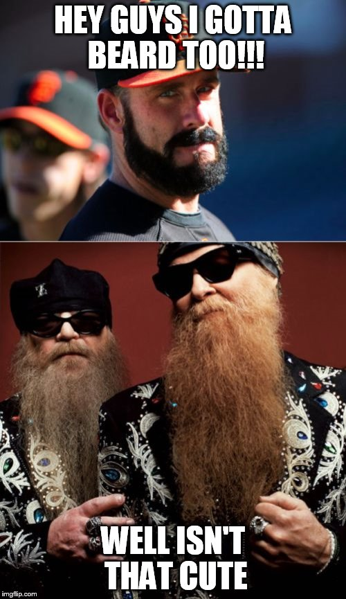 Brian Wilson Vs ZZ Top | HEY GUYS I GOTTA BEARD TOO!!! WELL ISN'T THAT CUTE | image tagged in memes,brian wilson vs zz top | made w/ Imgflip meme maker