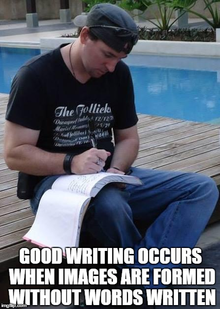 Readers have imaginations, too. | GOOD WRITING OCCURS WHEN IMAGES ARE FORMED WITHOUT WORDS WRITTEN | image tagged in the writer,writing,writing tips,writer,meme | made w/ Imgflip meme maker